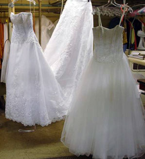 Wedding gowns being cleaned and finished